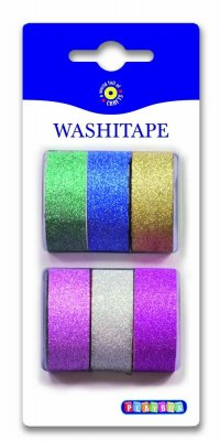 Washitape, 6-pack, glitter